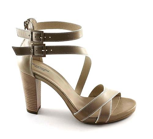 NERO GIARDINI 17580 beige scarpe donna sandali tacco pelle zip fibbie