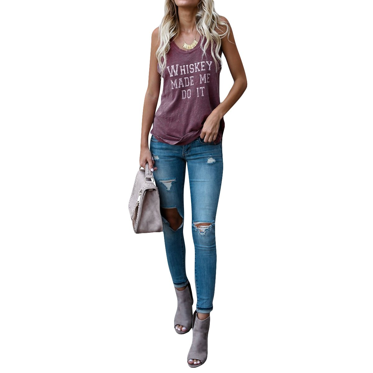 Jahurto Whiskey Made Me Do It Tank Top Women Workout Racerback Camisole Sleeveless Tops