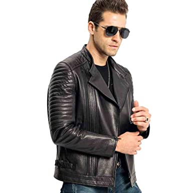 efa614fcf946 Men s Genuine Leather Jacket Short Sheepskin Coat Autumn Motorcycle Jacket ( XS