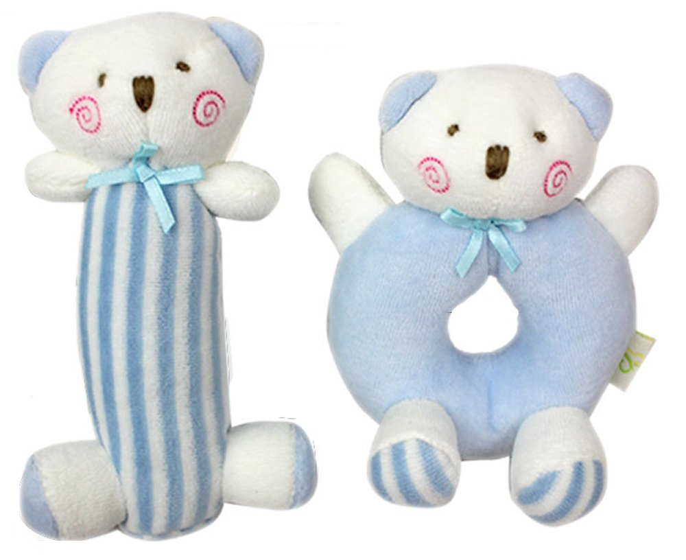 GODR7OY 2 Count Baby Rattle Plush Soft Toys Newborn Gift Crib Toy Pink Rabbits Bunny and Blue Bear (Pink Rabbits)