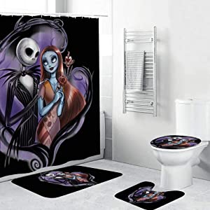 NIAMH PAGE 4 Piece Nightmare Before Christmas Shower Curtain Sets with Non-Slip Rugs, Toilet Lid Cover and Bath Mat, Durable Waterproof Shower Curtains with 12 Hooks 70.9x70.9 inch