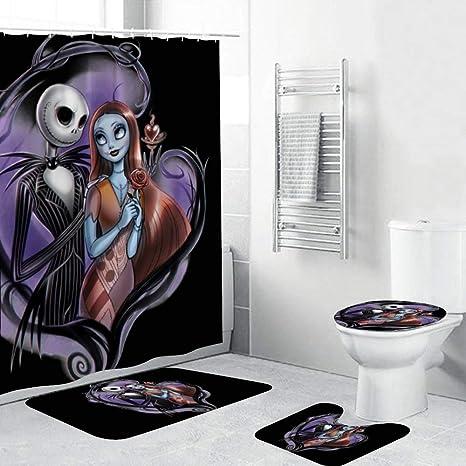 The Nightmare Before Christmas Bathroom Waterproof Shower Curtain w// 12 Hooks