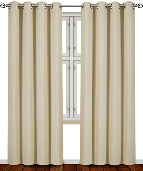 Blackout, Room Darkening Curtains Window Panel Drapes   (Beige Color) 2  Panel Set