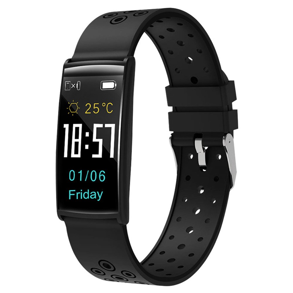 Fly New Smart Bracelet R11 Color Screen Heart Rate Blood Pressure Monitoring Large Screen Bluetooth Waterproof Outdoor Sports Bracelet Watch (Color : Black)
