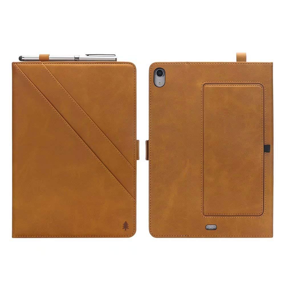 iPad Pro 12.9インチ 2018ケース プレミアムPUレザー二つ折り財布ケース ダブル折りたたみスタンドカバー カードスロット付き iPad Pro 12.9インチ 2018年発売用  ライトブラウン B07LDD975M