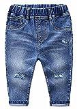 MMWORM Baby Boys Ripped Jeans Elastic Waist Denim Pants Jeans for Little Boys Girls