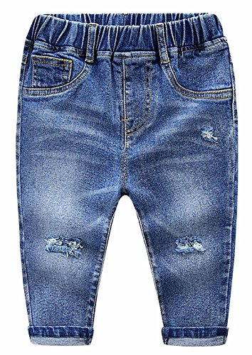 Toddler Kids Baby Boy Jeans Ripped Special Elastic Waist Denim Pants for Baby Boy 6-12 Months - Dark Blue