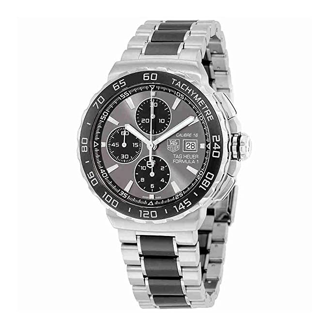 Amazon.com: Tag Heuer Formula 1 Anthracite Dial Stainless Steel and Ceramic Chronograph Mens Watch CAU2010.BA0873: Watches
