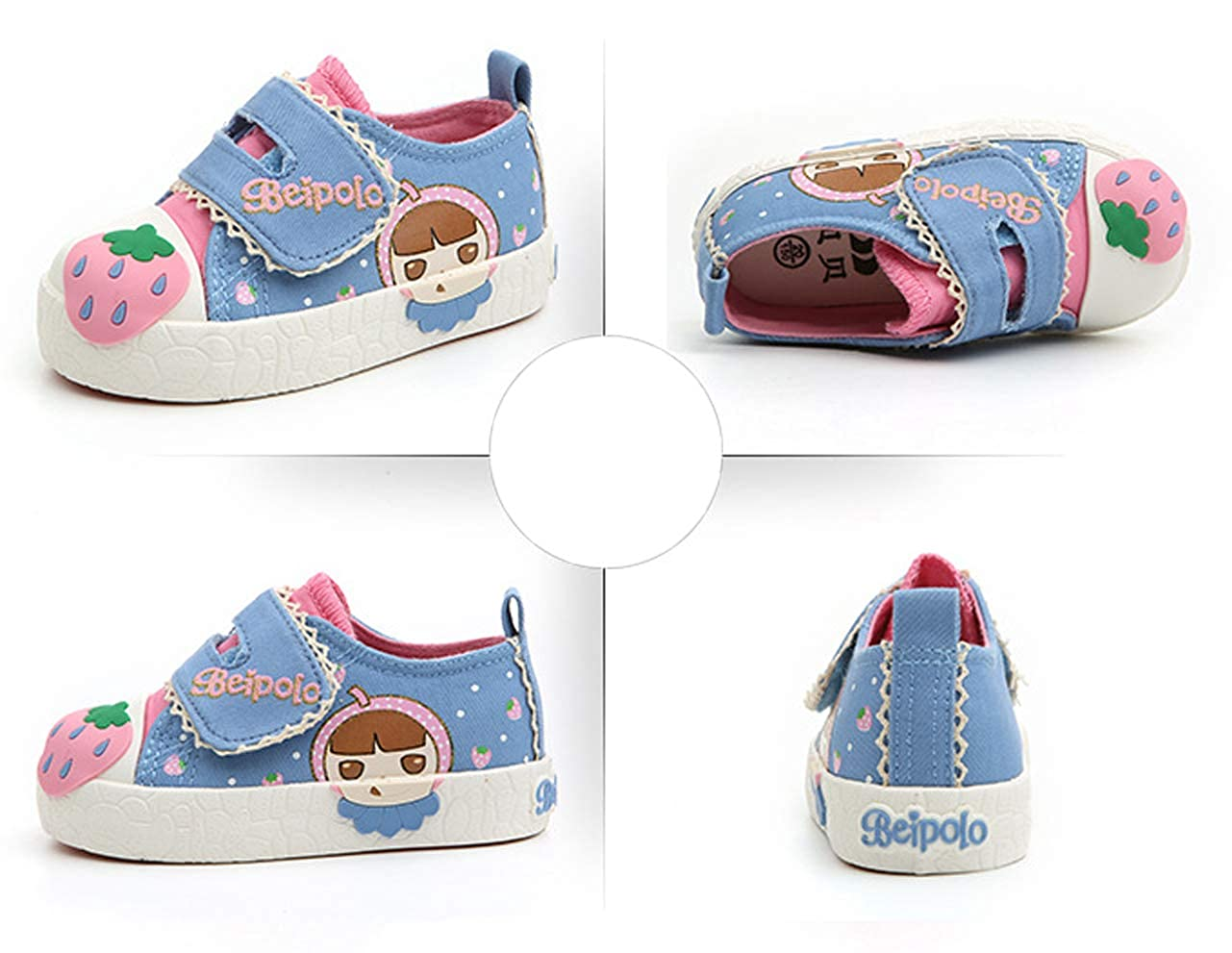 Toddler iDuoDuo Babe Girls Cute Fruit Print Canvas Shoes Casual Toddler First Walker Sneakers