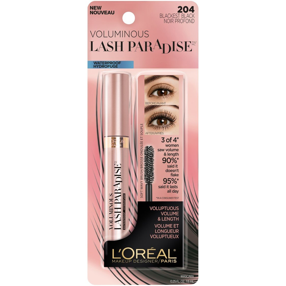 a9365437257 Amazon.com : L'Oreal Paris Makeup Lash Paradise Waterproof Mascara,  Voluptuous Volume, Intense Length, Feathery Soft Full Lashes, No Smudging,  No Clumping, ...