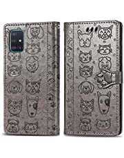 Miagon PU Leather Wallet Case for Samsung Galaxy A51,Cat and Dog Animal Design Embossing Flip Stand Function Cover with Card Slots Magnetic Buckle and Lanyard,Gray