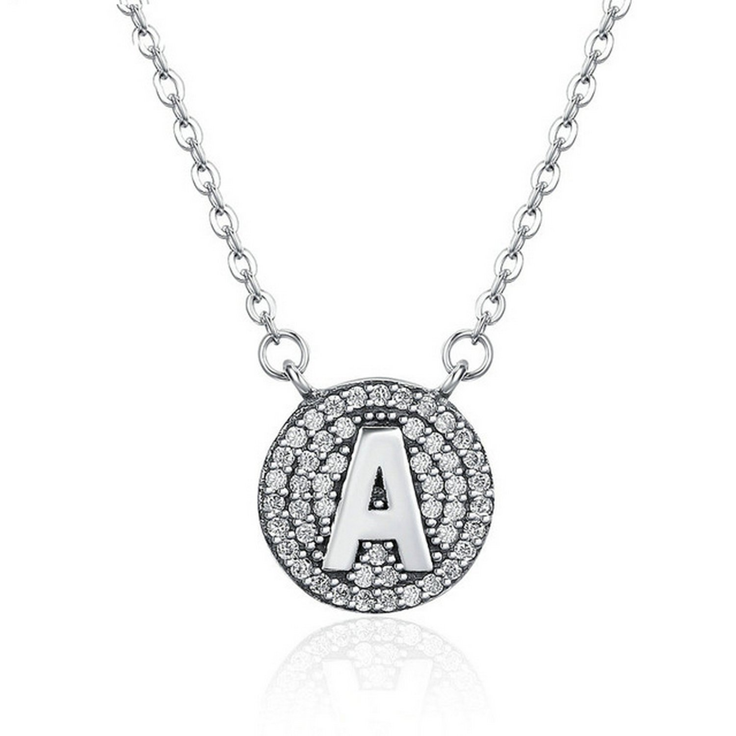 CS-DB Jewelry Silver Letter A Crystal Chain Charm Pendants Necklaces
