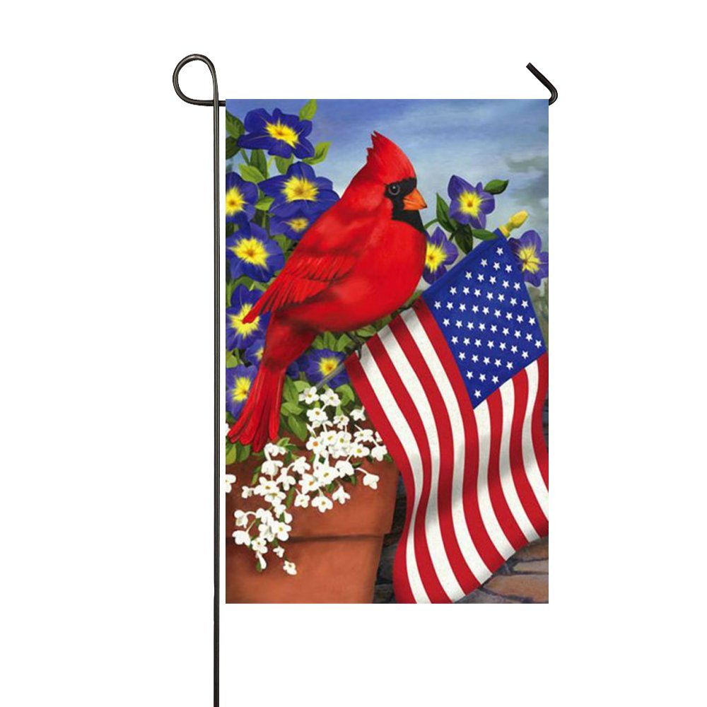 "Small Mim American Pride Red Cardinals Purple Morning Glory Garden Flag Holiday Decoration Double Sided Flag 12.5"" x 18"""