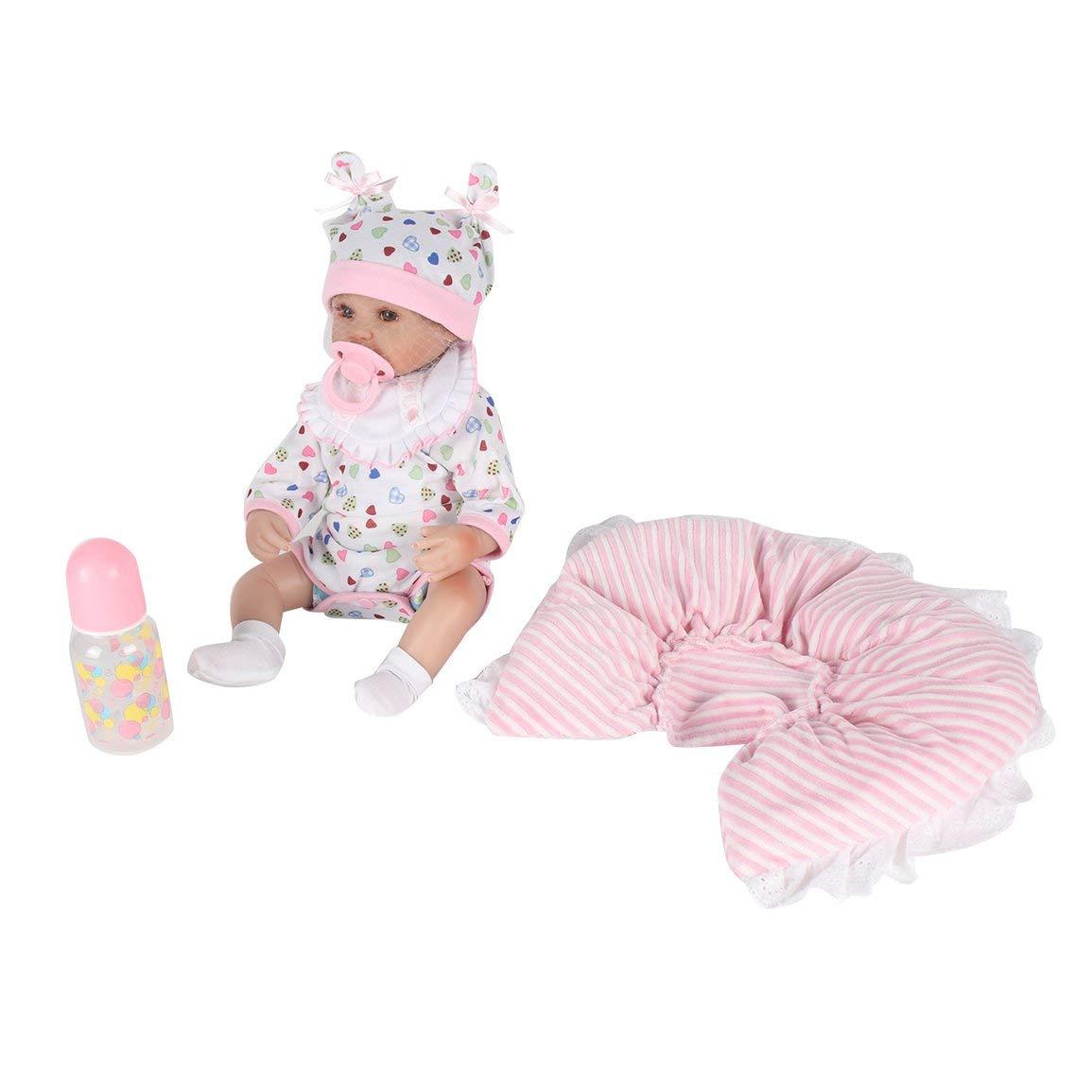Fantasyworld 45CM Kawaii Kinder Reborn Baby Doll weiche Silikon-Naturgetreue Neugeborene Neugeborene Neugeborene Puppe Mädchen Bestes Geburtstags Kinder Mädchen 34bdfb
