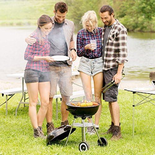 TecTake BBQ GRILL BARBECUE CHARBON DE BOIS FUMOIR SMOKER - diverses tailles au choix - (Barbecue rond avec couvercle et roues | No. 401665)