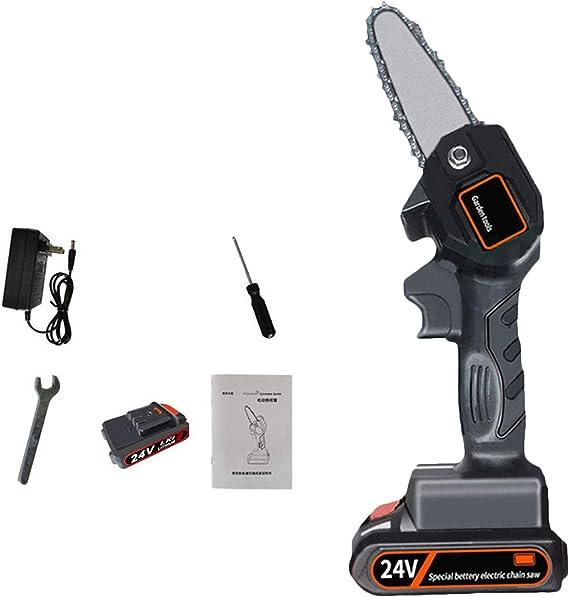 Mini motosierra para cortar madera, batería de litio recargable, sierra eléctrica, motosierra de mano inalámbrica para uso en el jardín del hogar