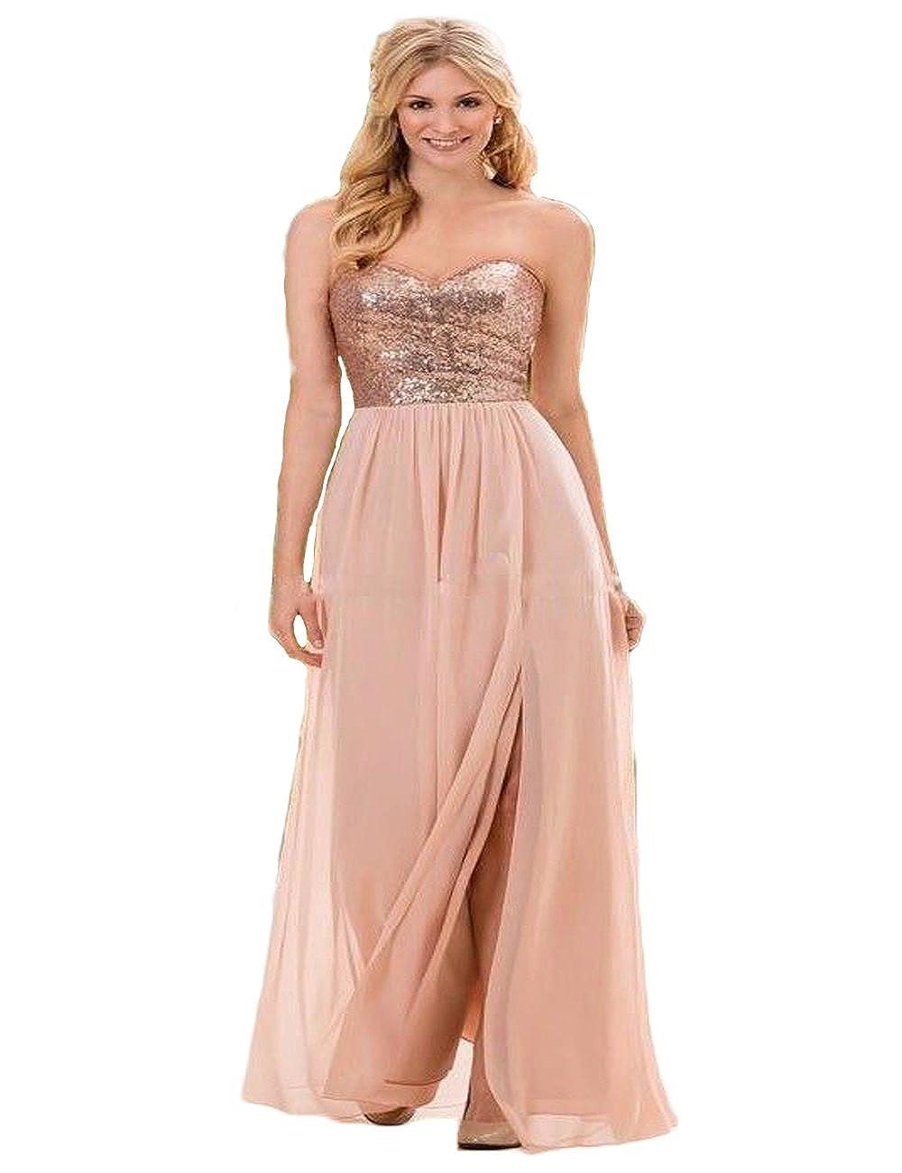 BKSKK Strapless Sequins Bridesmaid Dresses Formal Long Split Side Wedding Party Dress