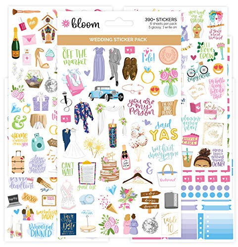 bloom daily planners New Engagement/Wedding Planning Stickers Variety Pack – 6 Sheets, 390+ Hand-Dawn Illustrations and…