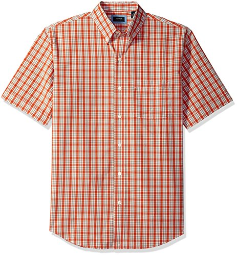 Arrow 1851 Men's Short Sleeve Hamilton Poplin Shirt, Orange Rust, L (Rust Arrow)