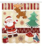 Ambesonne Christmas Decorations Collection, Cute Santa with Reindeer and Penguin Toys Snow Celebration Kids Room Design Patterns, Polyester Fabric Bathroom Shower Curtain Set with Hooks, Multi