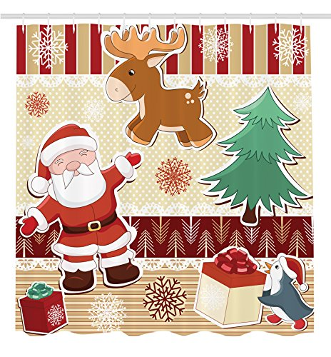 Ambesonne Christmas Decorations Collection, Cute Santa with Reindeer and Penguin Toys Snow Celebration Kids Room Design Patterns, Polyester Fabric Bathroom Shower Curtain Set with Hooks, Multi by Ambesonne