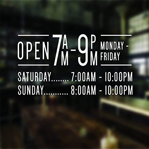 Opening hours sign opening times sign for shop window sticker v12 open closed sign business hours