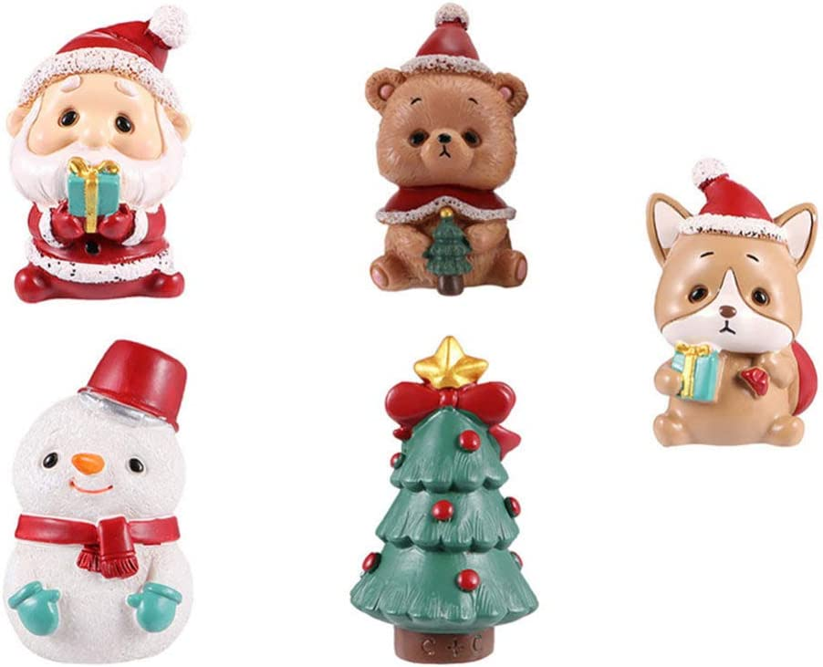 TOYANDONA 5pcs Cute Mini Christmas Ornament Christmas Santa Claus Bear Xmas Tree Figure Miniature Fairy Garden Ornament Christmas Dollhouse Decoration