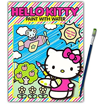 hello kitty paint with water book with green tip paint brush