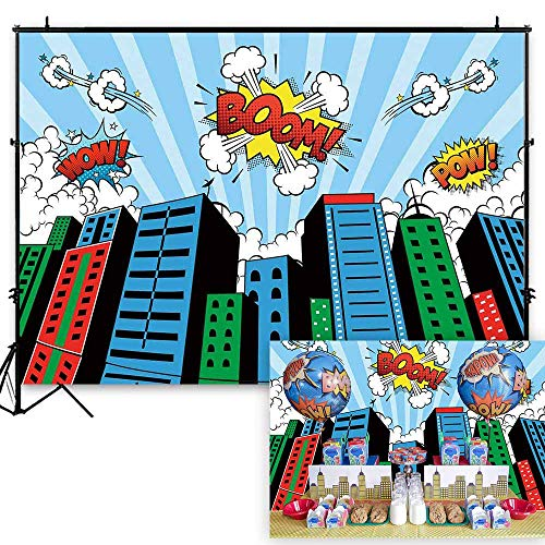 Funnytree 7x5ft Superhero Theme Party Backdrop Cartoon City Boy Baby Shower Birthday Photography Background Super Hero Cityscape Buildings Abstract Banner Cake Table Decoration Photo Booth Props