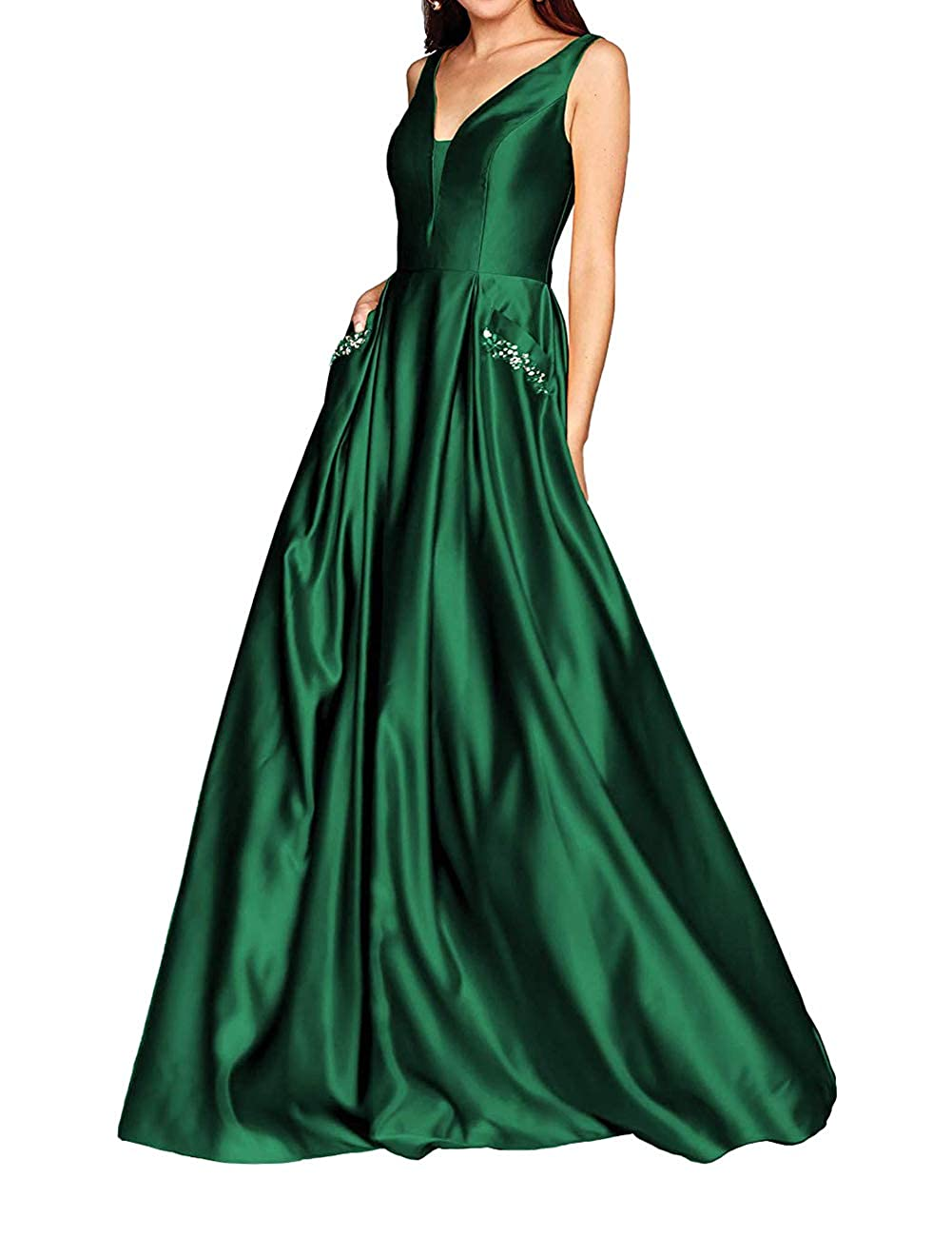 Dark Green JAEDEN Prom Dresses Long Evening Gowns Formal V Neck Prom Dress Sleeveless Evening Dresses Party Gown with Pocket
