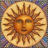 Ceramic Tile Mural - Celestial Sun - by Dan Morris - Kitchen backsplash / Bathroom shower