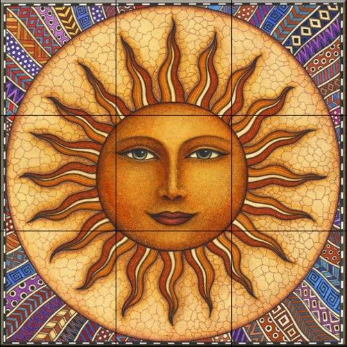 Ceramic Tile Mural - Celestial Sun - by Dan Morris - Kitchen backsplash/Bathroom Shower