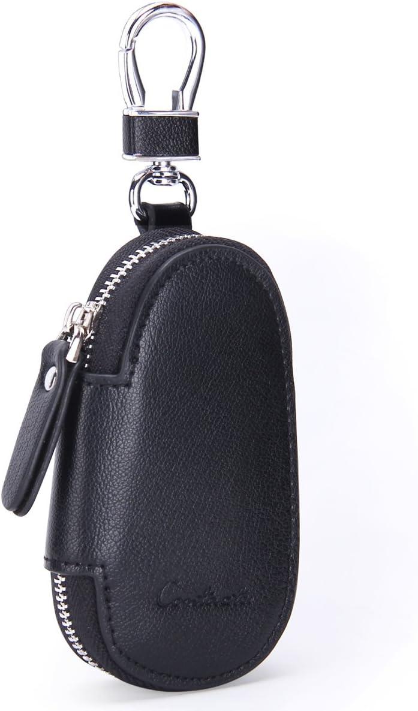 Funda de piel auténtica para llaves de coche para hombre y mujer, Negro (Negro) - 10440743