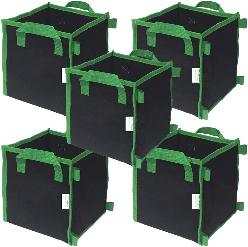 CASOLLY 20 Gallon 5 Pack Square Grow Bags with Heavy Duty Handle Planting Pots