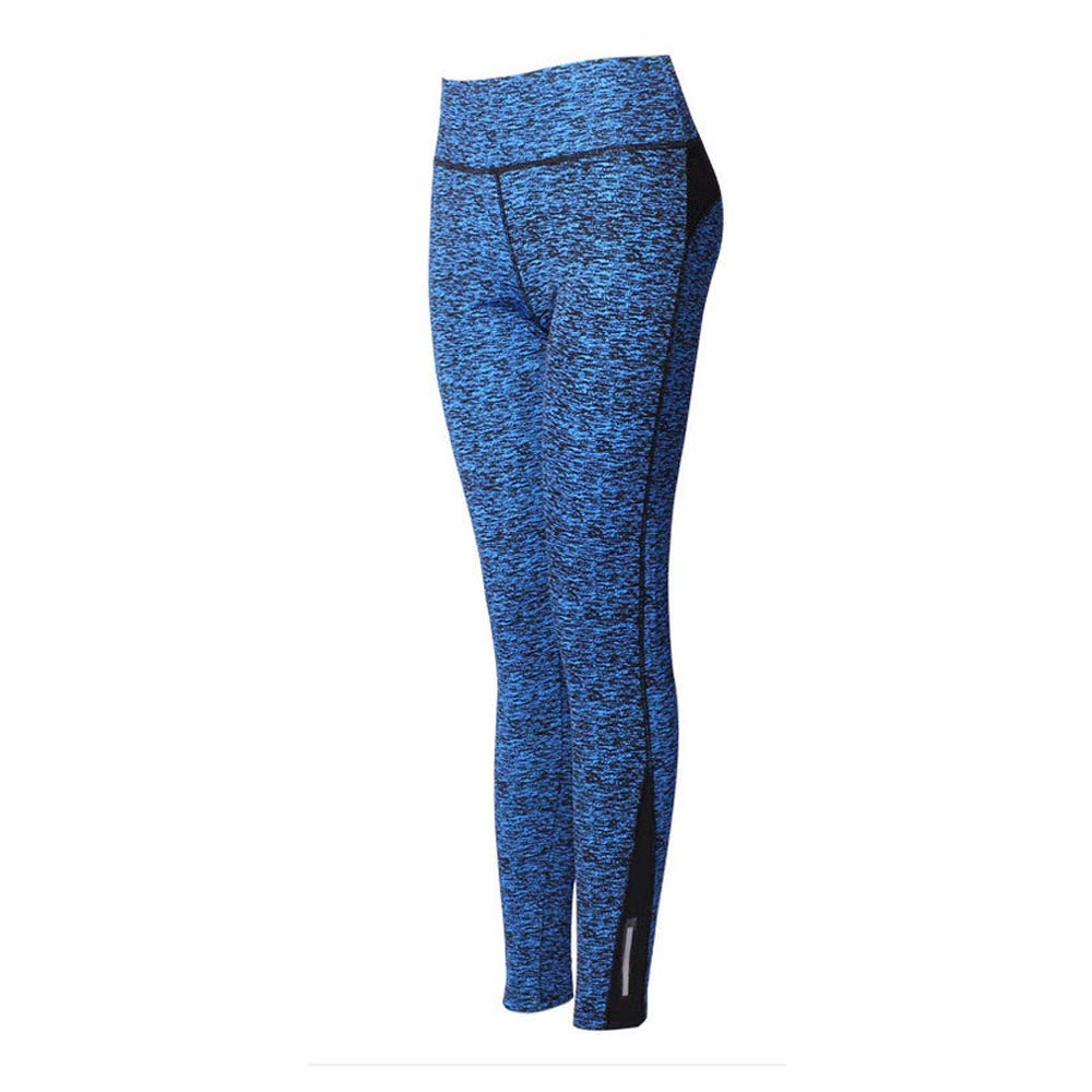 FIYOMET Fitness Women Pants Blue Color High Waist Sport Hiking Running Pant Tummy Control Stretch Workout