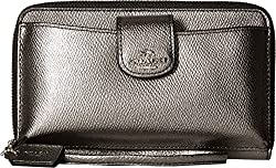 COACH Women's Box Program Metallic Universal Phone Wallet SV/Gunmetal Clutch