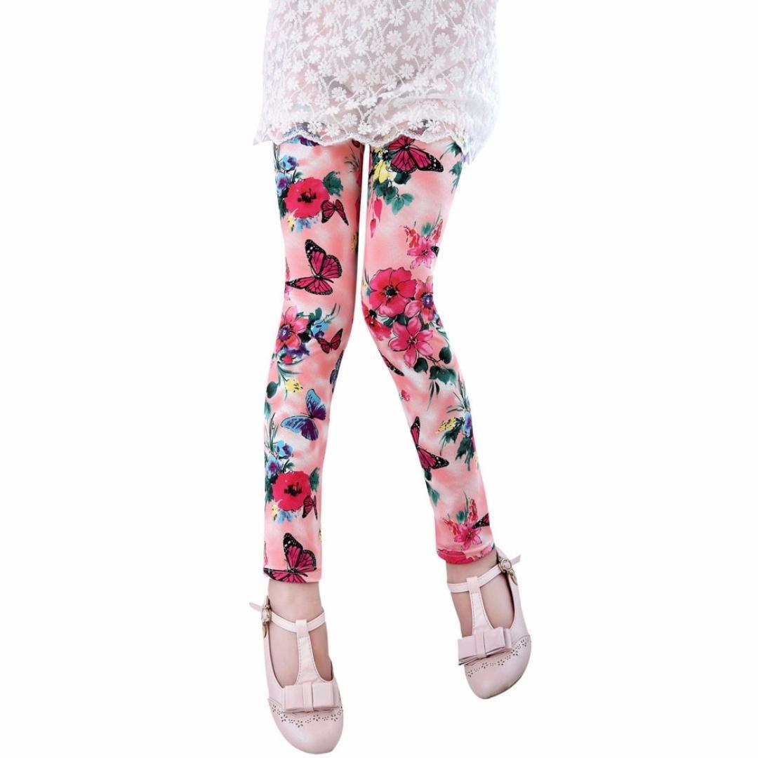 For 2-8Ages, BURFLY Kids Leggings Baby Girls Flower Ninth Length Pants
