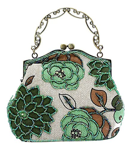 ILISHOP Women's Vintage Luxury Printing Beaded Women Handbag Evening Bag (Green) (Light Vintage Green)