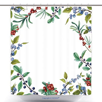 Custom Shower Curtains Watercolor Wild Berries Frame Hand Drawn Floral Card Design With Natural Elements Cranberry
