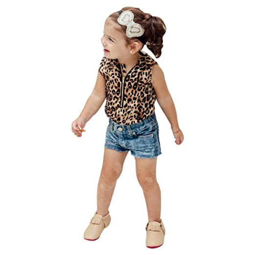 2feabbd9a4ac Little Girl Hooded Leopard Print T Shirt Top Shorts Pants Clothes Set  (2Years, multicolor