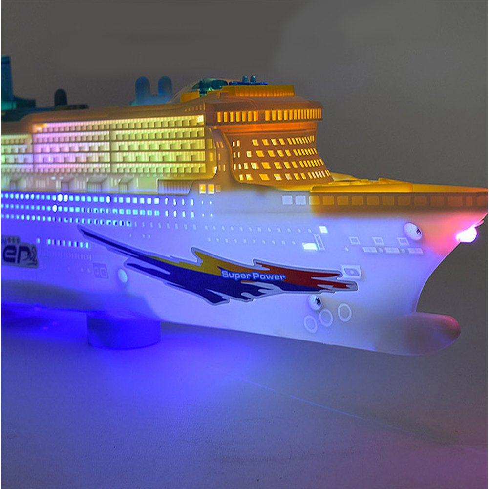ACHICOO Baby Electric Navigation Model Large Cruise Ship Infant Toddler Flash Music Universal Wheel Boat Toy Kid Gifs