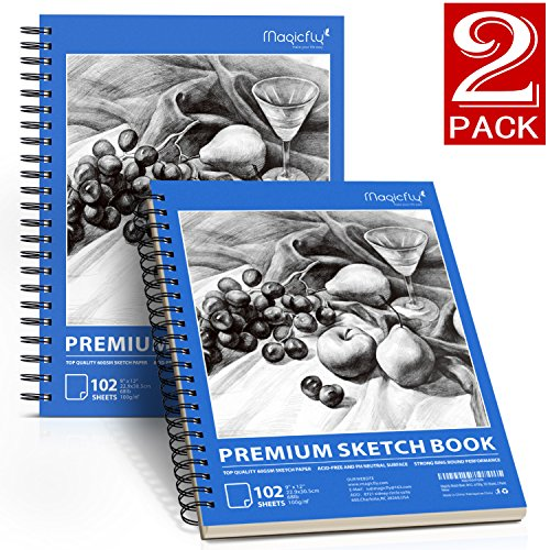 Sketch Book, Magicfly 2 Pack (9X12'' 68lb/100g, 102 Sheets Each) Spiral Bound Artist Sketch Pads, Art Book Acid Free Drawing Paper for Kids & Adults, Artists Sketching, Drawing, Notebooks by Magicfly