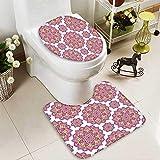 SOCOMIMI 2 Piece Toilet mat Set Shabby Chic Lotus Flower Style Meditation Essence Pattern Lime Green Fuchsia Pink White 2 Piece Shower Mat Set