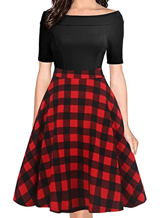 4e2b322323a oxiuly Women s Vintage Plaid Patchwork Off Shoulder Pockets A-Line Party  Evening Work Casual Midi