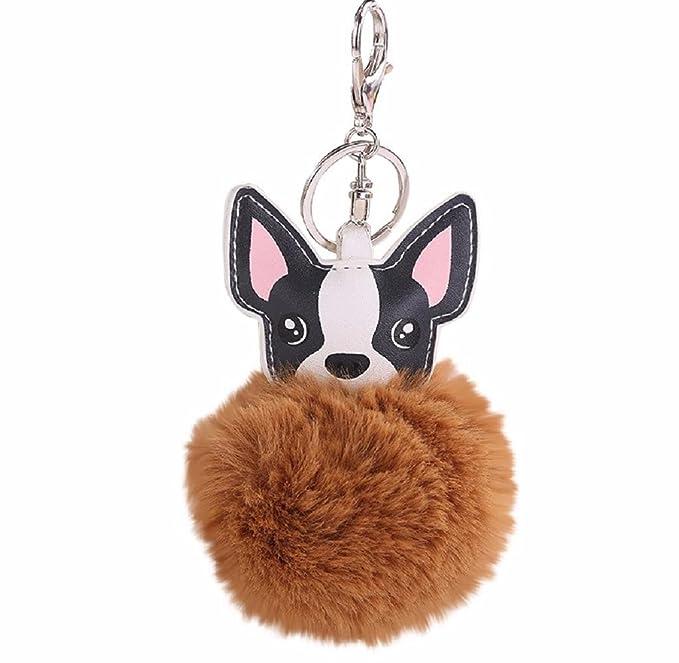 Holacha Llaveros de Perro Animal Lindos, Anillo de Llave de Piel de Conejo Colgante para Mujer Chica Accesorios de Teléfono Coche Bolsos