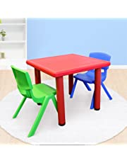 Kid's Adjustable Square Table with 2 Chairs Set