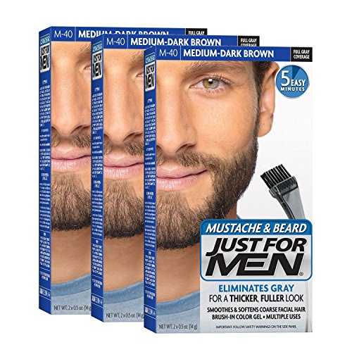 Just For Men Mustache & Beard, Medium-Dark Brown(Pack of 3, Packaging May Vary) (Dark Brown Highlights)