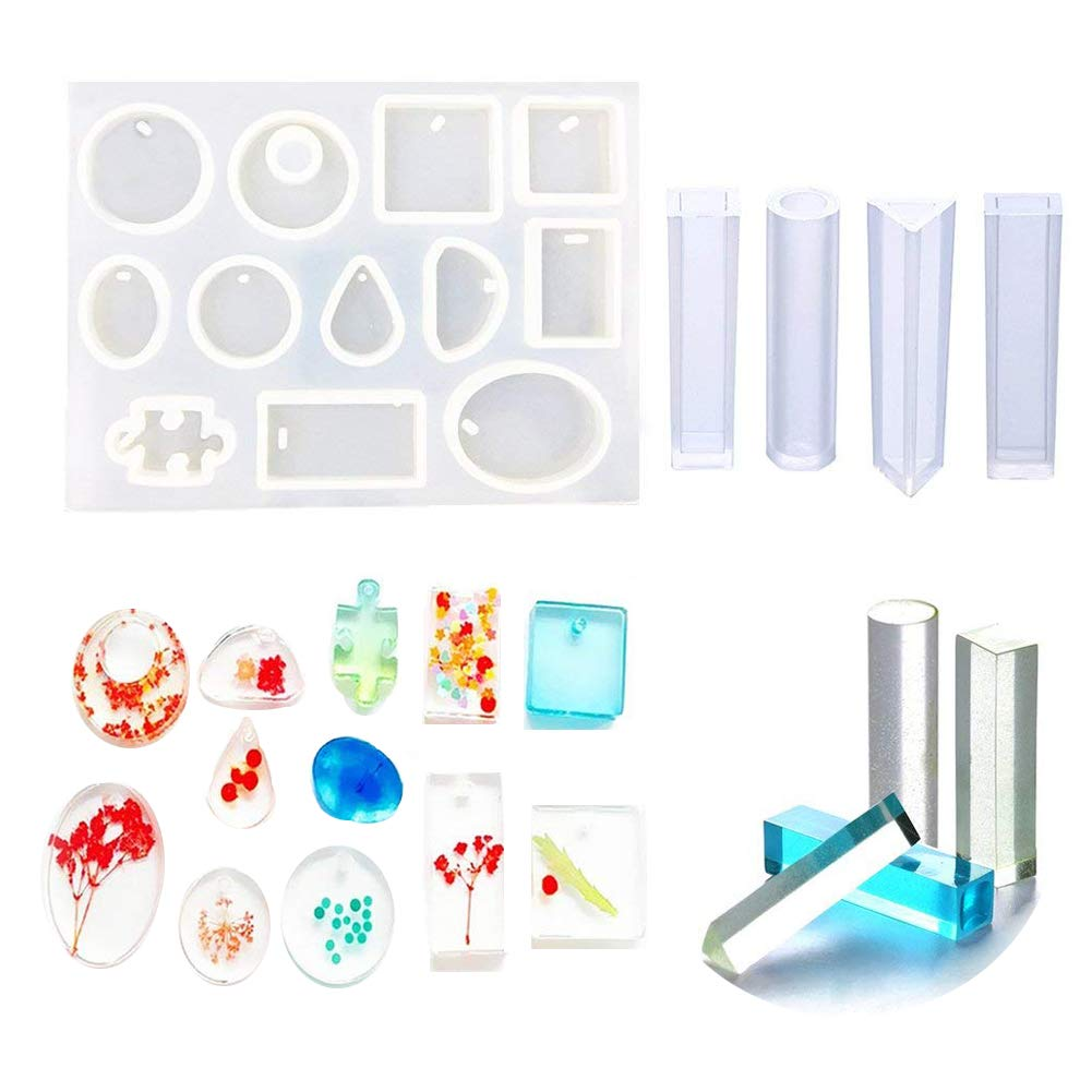 Jatidne Silicone Resin Moulds for Jewellery Making Epoxy Resin Moulds 16 Designs with Hanging Hole Jewellery Moulds for Resin DIY Craft  Price: £8.99