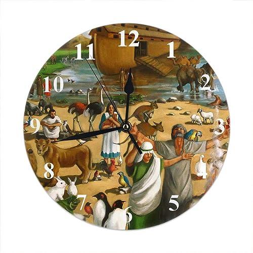 Moslion Painting Wall Clock Noah and The Ark Bible Story Flood Rainbow Water Animal Pairs Alatar Round Wall Clock Home Decor Wall Clock
