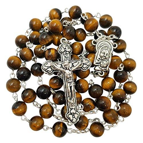 (Talisman4U 8mm Tiger Eye Beads BLESSED CATHOLIC ROSARY NECKLACE Virgin Mary Centerpiece Crucifix Gift Box)